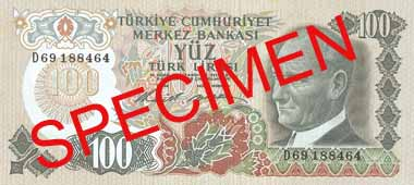 ONE HUNDRED TURKISH LIRA FRONT FACE