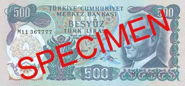 FIVE HUNDRED TURKISH LIRA FRONT FACE