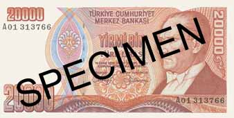 TWENTY THOUSAND TURKISH LIRA FRONT FACE