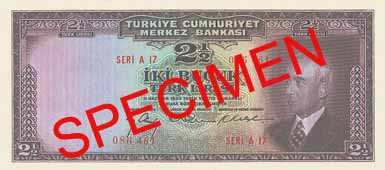 TWO AND A HALF TURKISH LIRA  FRONT FACE