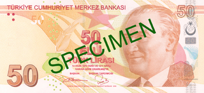 FIFTY TURKISH LIRA FRONT FACE