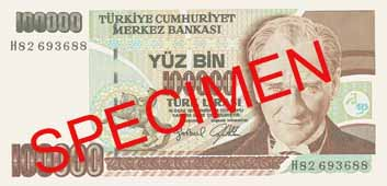 ONE HUNDRED THOUSAND TURKISH LIRA FRONT FACE