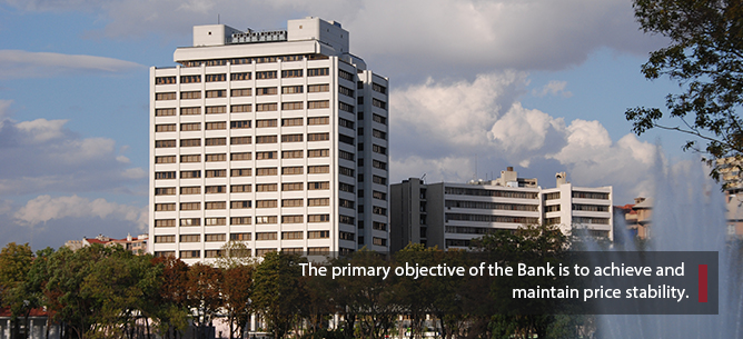 The primary objective of the Bank is to achieve and maintain price stability.