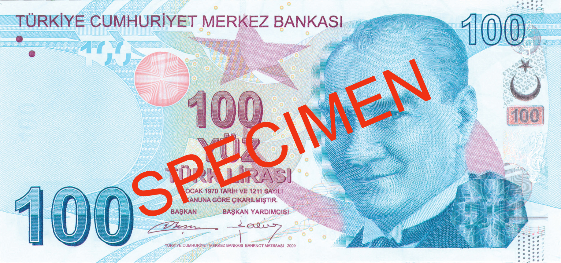 HUNDRED TURKISH LIRA FRONT FACE